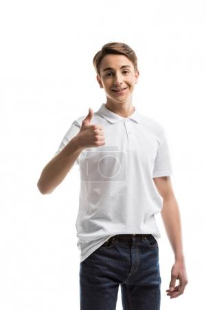 caucasian teenager showing thumb up