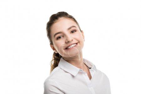cheerful caucasian teenage girl