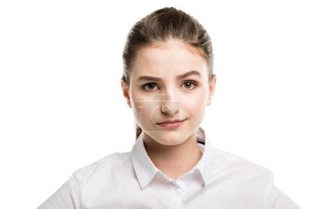 caucasian teenage girl in white shirt