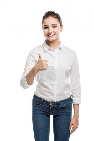 caucasian teenage girl showing thumb up