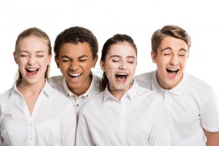 Screaming multiethnic teenagers in white shirts