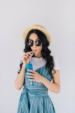 woman in sunglasses with soda drink