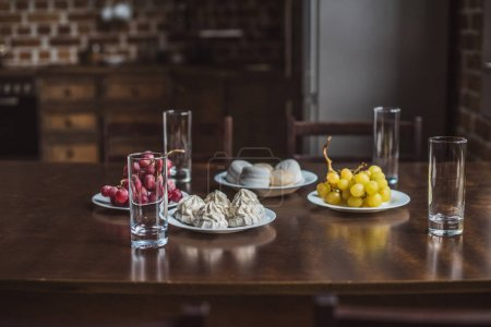 food on wooden table in kitchen