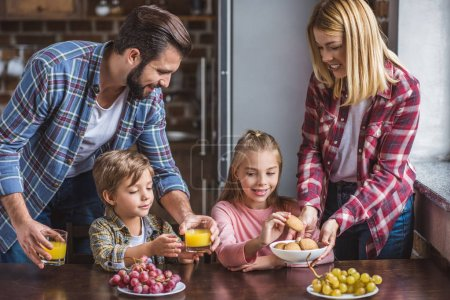family having breakfast at home