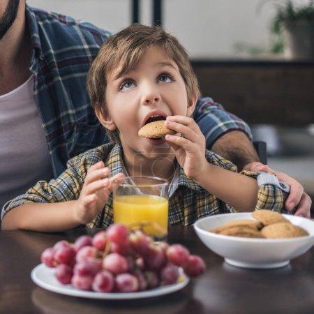 Kleiner Junge isst Plätzchen