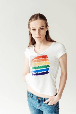 Woman showing printed rainbow