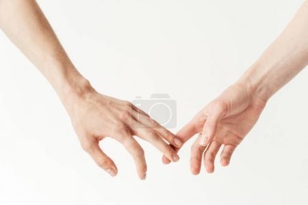 Photo pour Image recadrée de lesbiennes tenant les mains isolées sur du blanc - image libre de droit