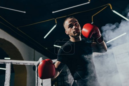 Photo pour Vue faible angle de musculaire jeune boxeur formation en gants de boxe - image libre de droit