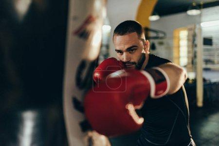 Photo pour Vue rapprochée du jeune boxeur de formation avec le sac de boxe - image libre de droit