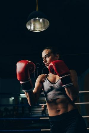 Photo for Athletic young woman in boxing gloves training in sport club - Royalty Free Image