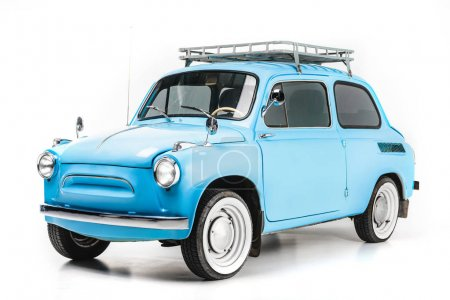 blue retro car