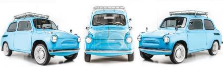 Photo pour Collage avec voiture bleue rétro isolé sur blanc - image libre de droit