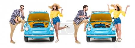 couple with luggage standing by car