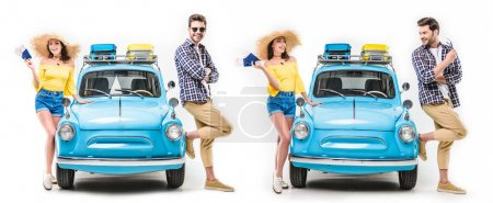 Photo for Young happy tourists standing close to each other by car and holding flying tickets isolated on white - Royalty Free Image