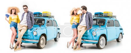 Photo for Young travelers standing close to each other by car and holding tickets isolated on white - Royalty Free Image