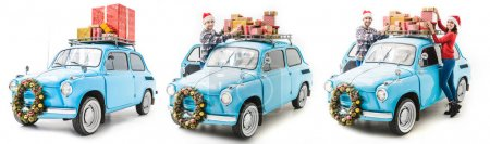 Photo for Young man and woman with christmas gifts on car roof isolated on white - Royalty Free Image