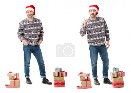 man with stacks of christmas gifts