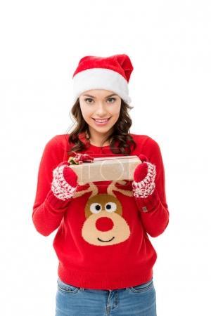 woman presenting christmas gift