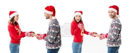 man and woman sharing christmas gifts