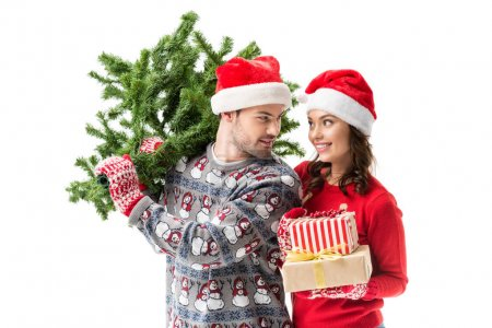 couple carrying christmas tree and gifts