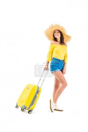 Woman pulling luggage