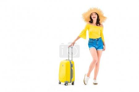 Photo pour Heureuse jeune femme avec des bagages isolés sur blanc - image libre de droit