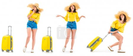 Photo for Young woman looking at luggage, shrugging shoulders and pulling luggage isolated on white - Royalty Free Image