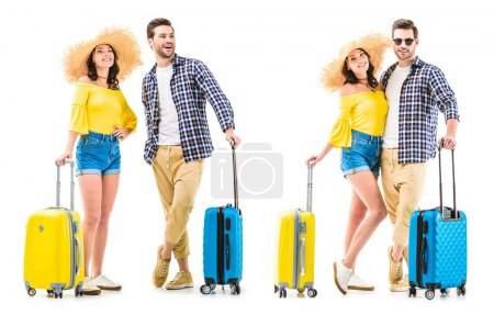 couple of tourists holding luggages
