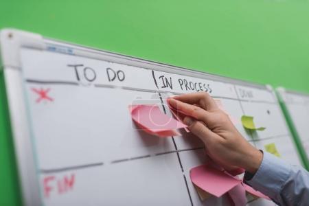 Photo pour Vue recadrée de l'homme d'affaires mettant note collante sur le tableau des tâches - image libre de droit