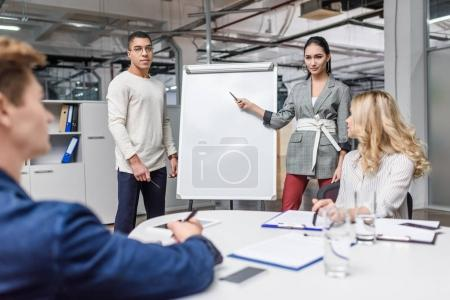 group of young multiethnic managers making presentation for boss in modern loft office