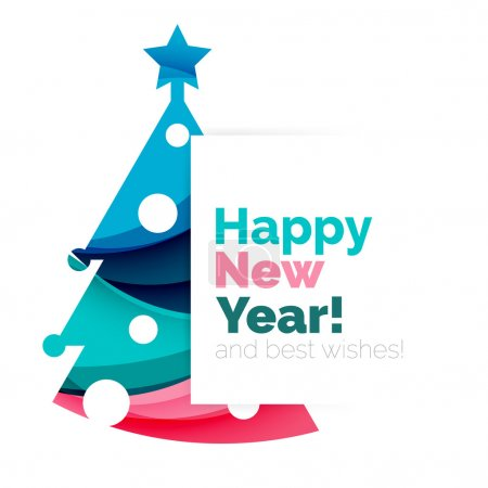 Happy New Year and Chrismas holiday greeting card elements