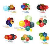 Set of hexagon navigation option diagrams