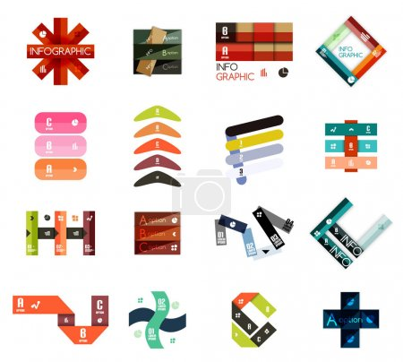 Collection of colorful line and stripe infographic diagram designs, business or web banner templates