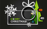 New Year Christmas tree banner black background