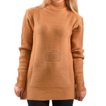 Blank light brown pullover mock up isolated. Female wear plain hoodie mockup. Plain hoody logo design presentation. Sweatshirt for logo and print.