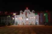 Frontal View of Vintage Church Decorated for Holidays in Vasai, Bombay