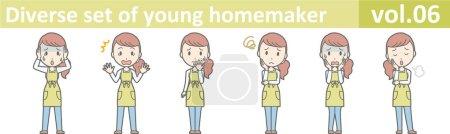 Illustration for Diverse set of young homemaker, EPS10 vector format vol.06 - Royalty Free Image