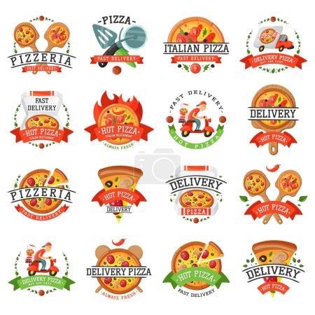Photo pour Illustration vectorielle de badge pizza livraison. Éléments alimentaires et boissons étiquette de conception typographique ou boulangerie autocollante. Symbole de menu de café de cuisson avec déjeuner traditionnel délicieux . - image libre de droit