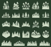 Forest tree vector silhouette outdoor travel green silhouette forest logo coniferous natural badge tops pine spruce branch cedar and plant leaf abstract stem drawing vector illustration