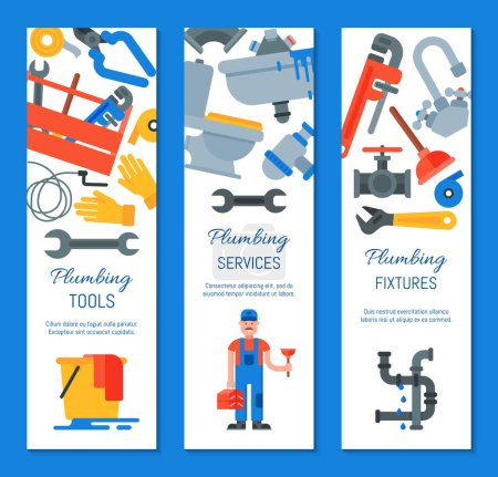 Photo for Vertical banners of plumbing tools, fixtures and services vector illustration. Plumber with plunger and suitcase repairing appliances. Home repair service web banners template - Royalty Free Image