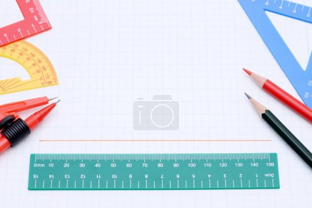 Photo for Colorful rulers, pen and notebook on white background - Royalty Free Image