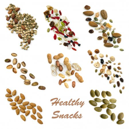 Photo for Healthy snacking collection isolated on white.  Includes seeds, nuts, trail mix, sweet potato fries, vegetable crisps and carrot sticks. - Royalty Free Image