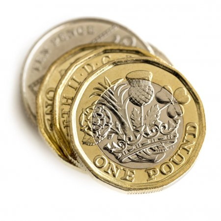 Stack of British Coins Isolated on White Top View