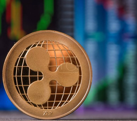Ripple coin with graph background