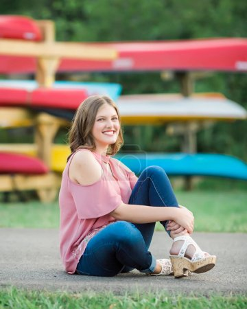 Caucasian High School Senior Girl Outside