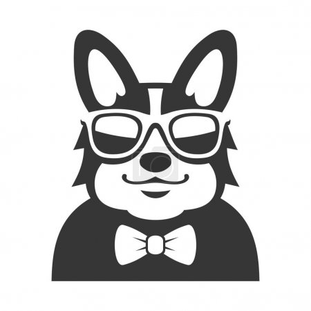 Welsh Corgi Pembroke wit Bowtie and Sunglasses Icon. Cartoon Hipster Style Vector