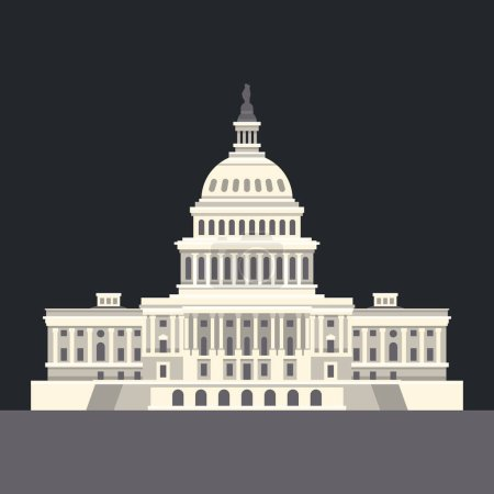 US National Capitol in Washington, DC. American landmark. Vector