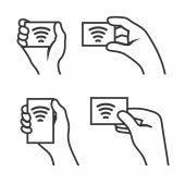 Hand with RFID Card set Vector