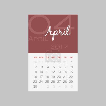 Calendar 2017 months April. Week starts Sunday