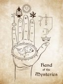 The hand of the Mysteries The alchemical symbol of apotheosis the transformation of man into god Tattoo or poster print design Hand drawn medieval esoteric style vector illustration